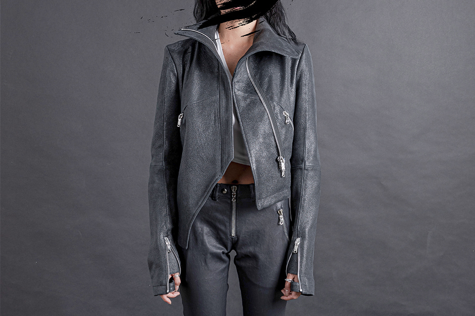 Asymmetric Highneck Leather Jacket
