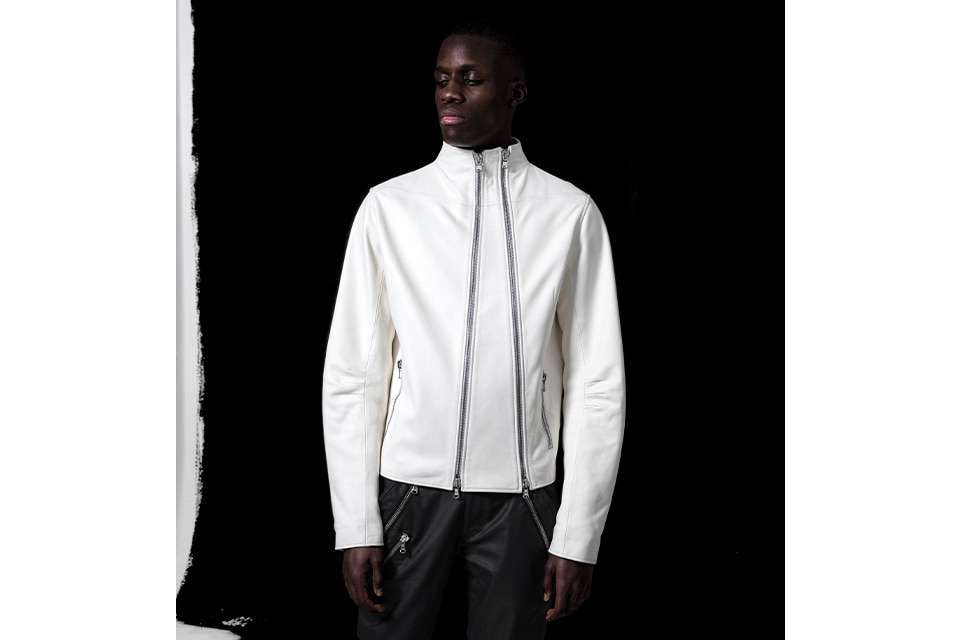 Diagonal Leather Jacket White